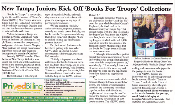 books for troops in the news